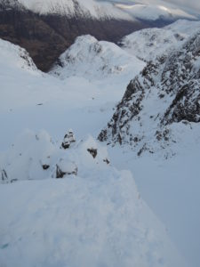 Looking down on Dorsal Arete ( before the chimney)