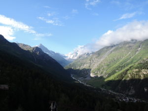 Municipality of Anniviers - Zinal with Les Diablons (left) and Weisshorn ( partially in the clouds)