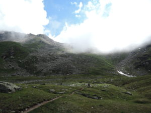 Approaching Forcletta Pas (into the clouds)