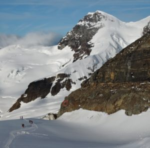 Climbers at the start of the route