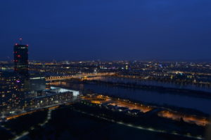 Vienna at night as seen from Danube Tower