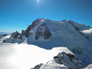 Tacul with the Triangle seen from Cosmique Arete route. - Chere on the far right